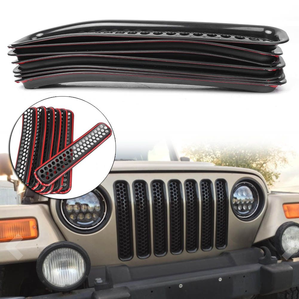Front Grille Covers Insert Mesh Grill For Jeep Wrangler TJ 1997 1998 1999 2000 2001 2002 2003 2004 2005 2006 7pcs