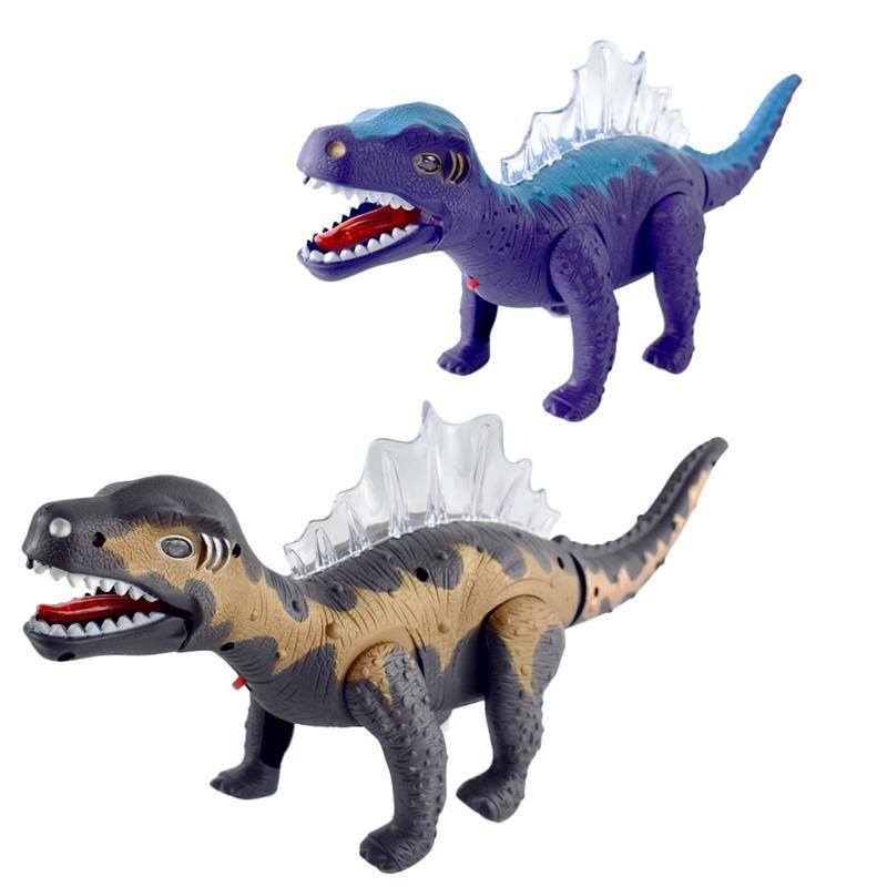 Electric Dinosaur Model Anti-fall Toy Walk Vocal Dinosaur Assembled Model Children Simulation Animal Toy Color Random