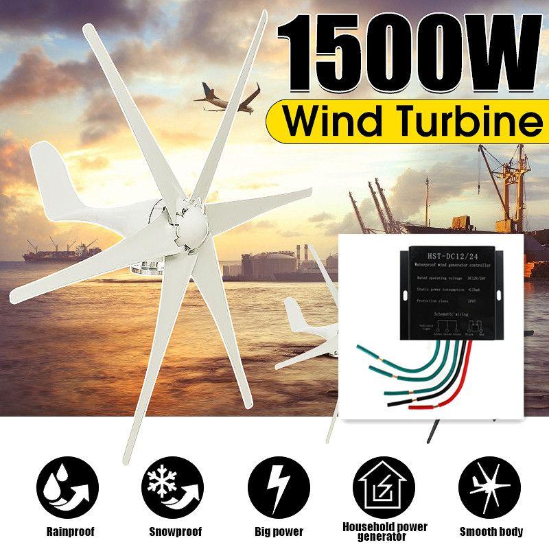 1500W 12 V/24 V/48 Volt 6 Klinge + Controller Windkraftanlagen Horizontale Hause Wind Generator power Windmühle Energie Turbinen Ladung
