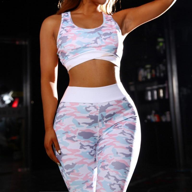 Camouflage Women Yoga Set 2019 Female Sport Suit Fitness Clothing Sportswear Crop Top Sport Leggings Gym Jogging Clothes