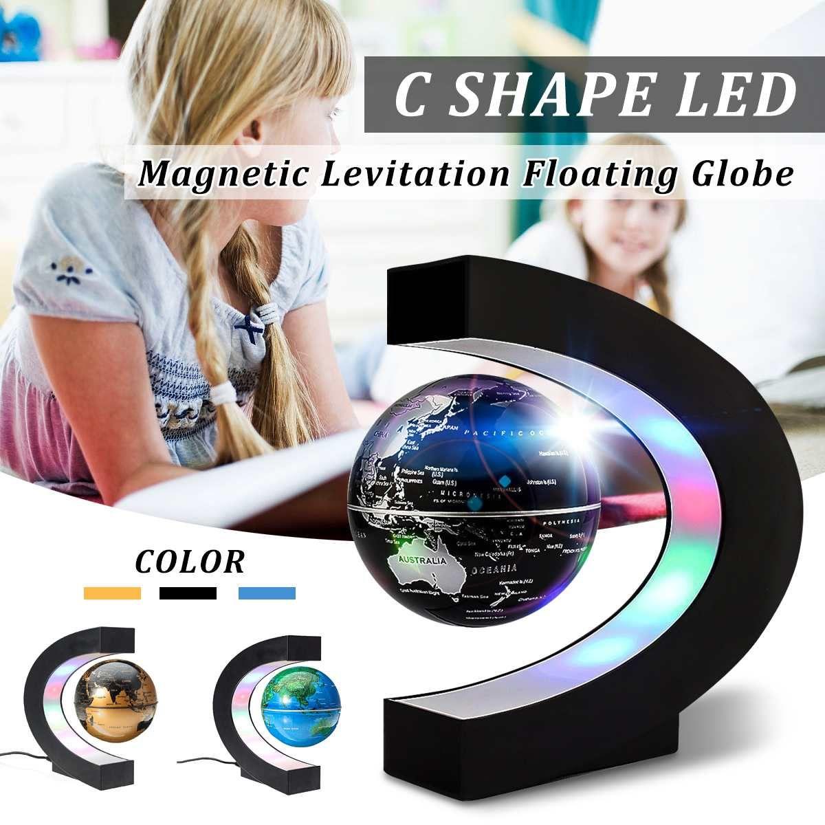 Magnetic Levitation Floating LED Illuminated Globe Terrestre World Earth Map Tellurion Children Geography Education Toys