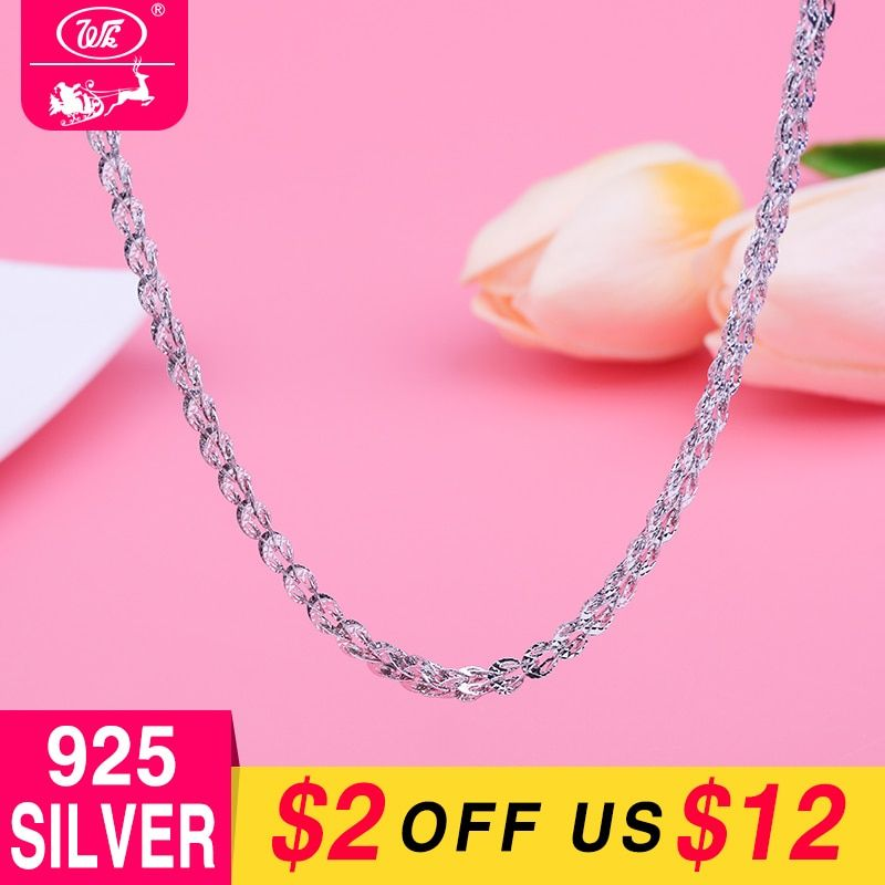 WK 4MM Thick Long Silver Chain 925 Sterling Silver Chains Woman Ladies Girls Silver Necklace Hollow Phoenix Tail Design 9g NA067