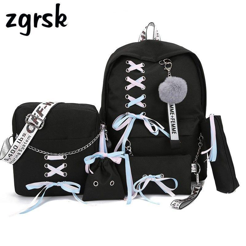 Chaîne USB sac à dos femmes toile 5 pièces/ensemble femmes sac à dos adolescent filles sacs à dos sac à bandoulière femme étudiant sacs d'école gland