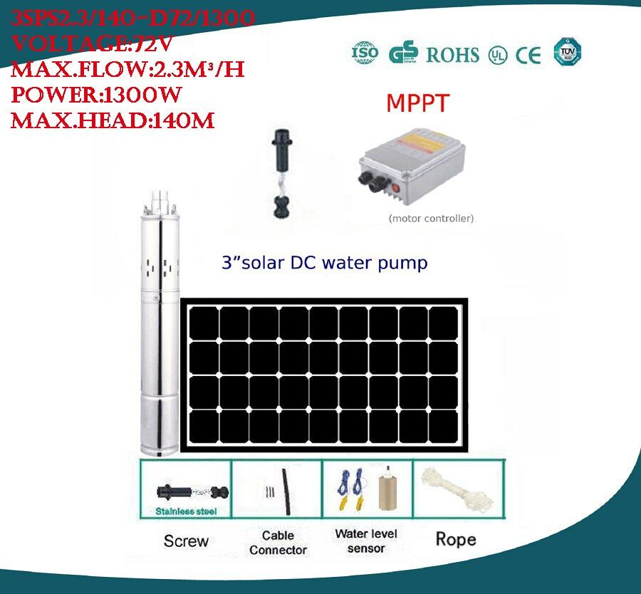 DC72V Large Powered 1300W Solar Water Pump For Irrigation 3 Years Warranty 3SPS2.3/140-D72/1300