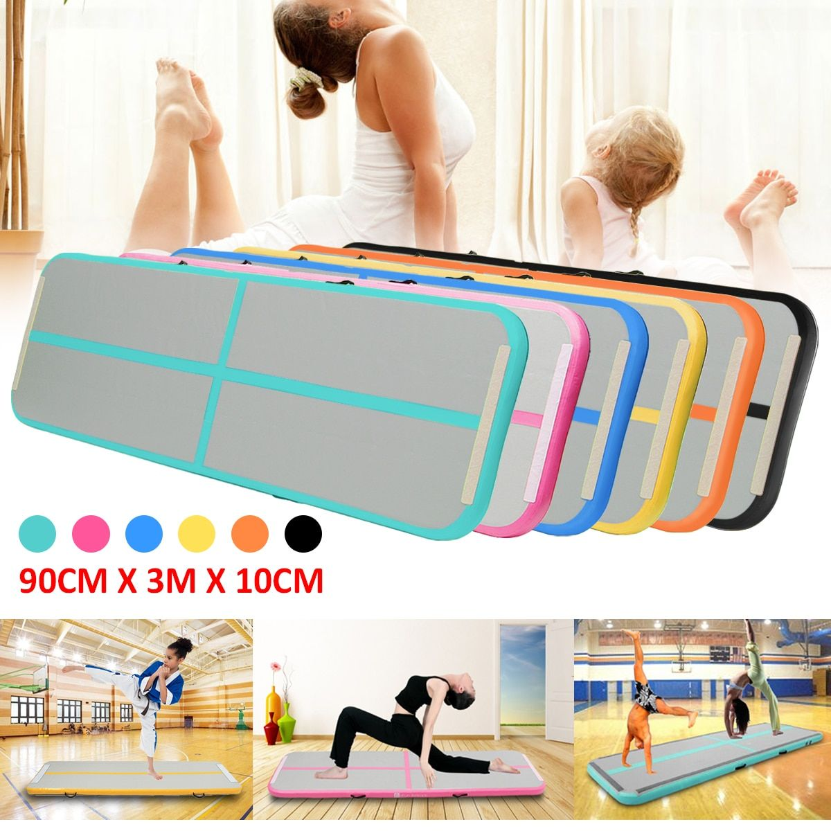 Best Deal 0.9*3m Inflatable Tumble Track Trampoline Air Track Floor Home GYM Gymnastics Inflatable Air Tumbling Mat