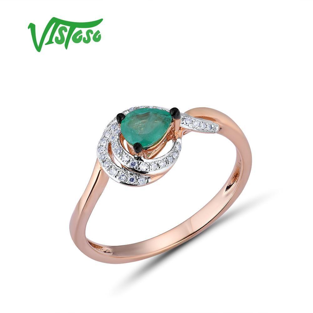 VISTOSO Gold Ringe Für Frauen Echte 14K 585 Rose Gold Ring Magie Funkelnden Smaragd Diamant Engagement Jahrestag Edlen Schmuck