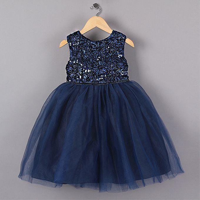 Nouveau bleu princesse fille robes de fête fleur paillettes Tutu style robe de mariée pour noël filles vêtements 3-7 ans