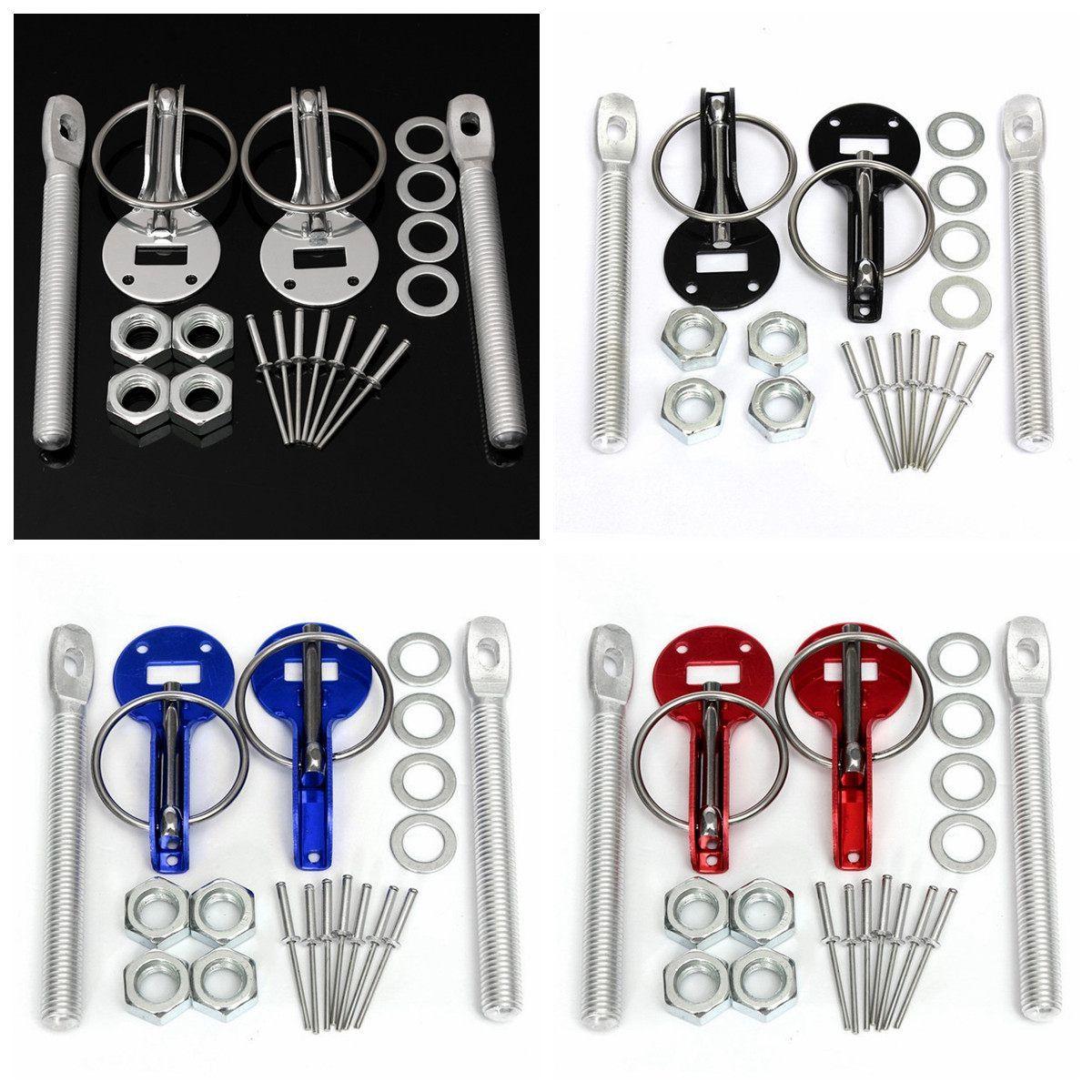 4 color Pair Universal Cars Aluminum Alloy Mount Hood Pin Bonnet Lock Kit Automobile Refitting Kit Car Styling Accessaries