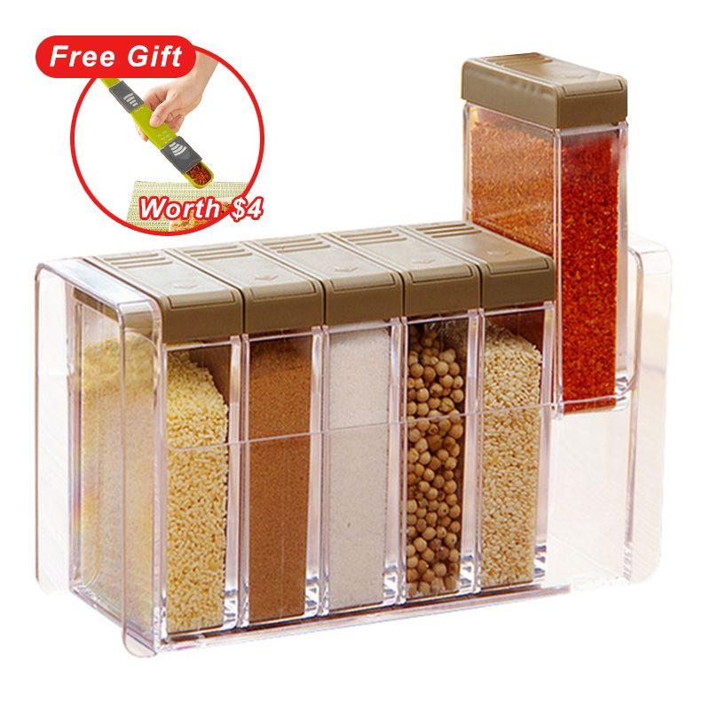 Kitchen Seasoning Bottles Jars Boxes Plastic Spice Lid Can Sugar Layers Storage Organizer Box Home Organization Accessories Item