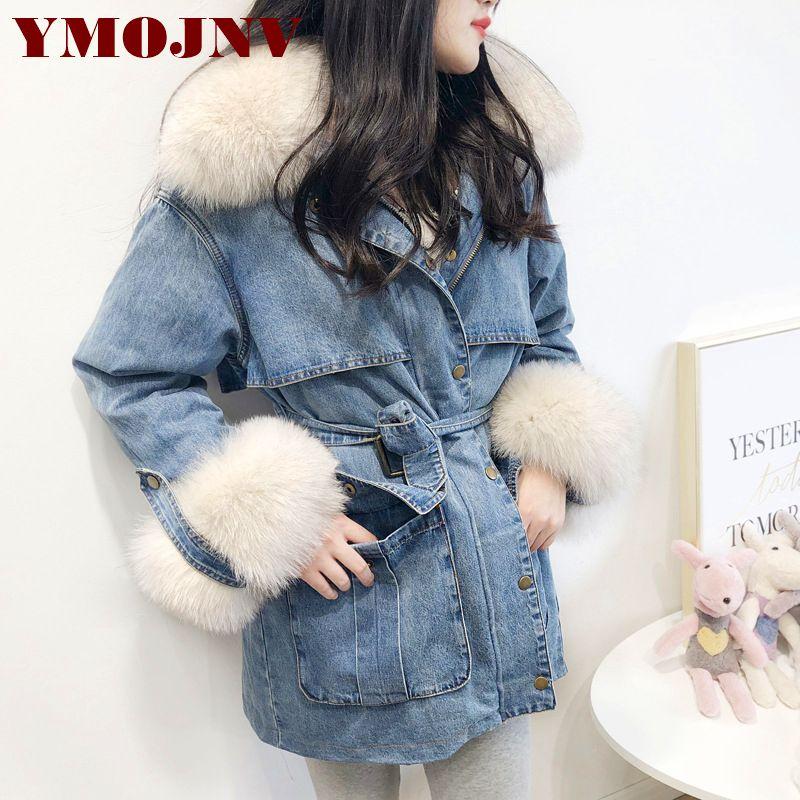 YMOJNV Winter Frauen Mantel Denim Unten Jacke Reale Natürliche Fox Pelz Kragen 90% Weiße Ente Unten Liner Warme Parka Weibliche oberbekleidung