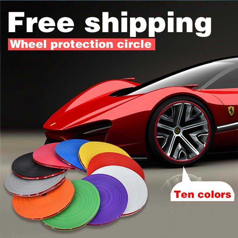 10 Colors 8M/Roll Car Styling Car Wheel Rim Protector Decorative Strip Rim/Tire Protection Tire Guard Line Rubber Moulding Trim