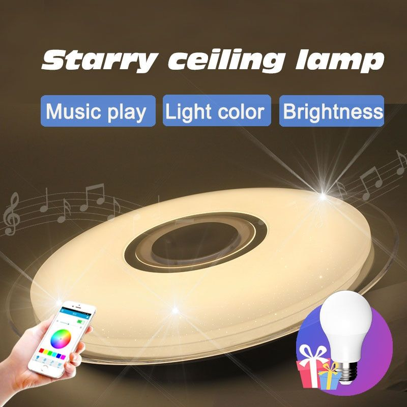 Modern Bluetooth Music specker LED ceiling lamp for bedroom Living room Color modern Christmas Loft Decoration overhead lights