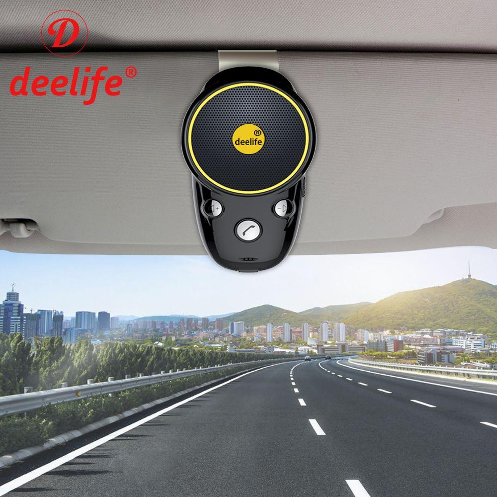 Deelife Bluetooth Handsfree Car Kit Wireless Auto Speakerphone Carkit Sun Visor Speaker for Car Phone Hands Free Adapter In-Car