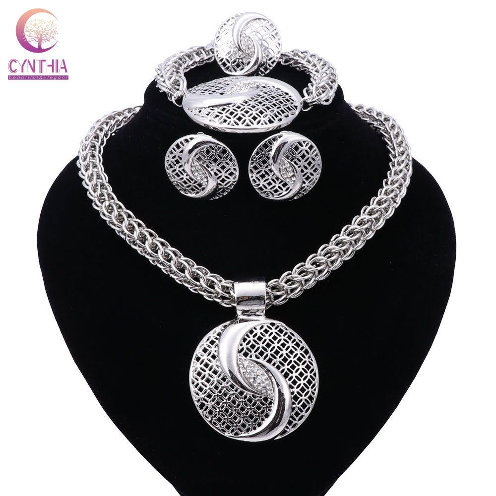 Nouveau exquis Dubai ensemble de bijoux de luxe plaqué argent grand mariage nigérian perles africaines ensemble de bijoux Costume nouveau Design