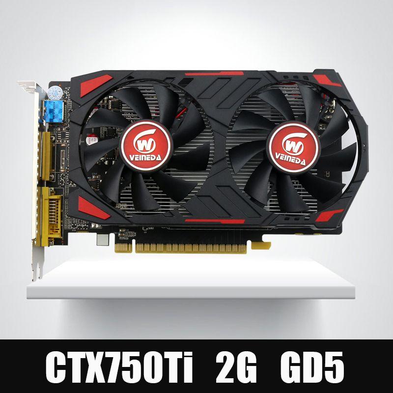 Veineda Vidéo Carte D'origine GPU GTX750Ti 2 GB GDDR5 Graphiques Cartes InstantKill R7 350, HD6850 pour nVIDIA Geforce jeux