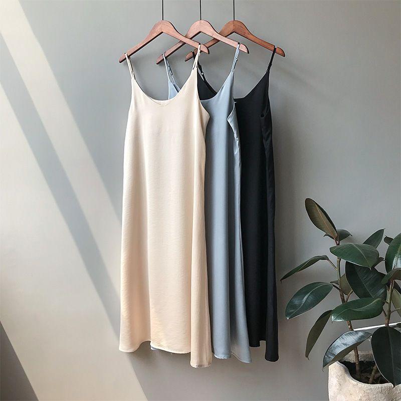 Mooirue Spring 2019 Woman Tank Dress Casual Satin Sexy Camisole Elastic Female Home Beach Dresses