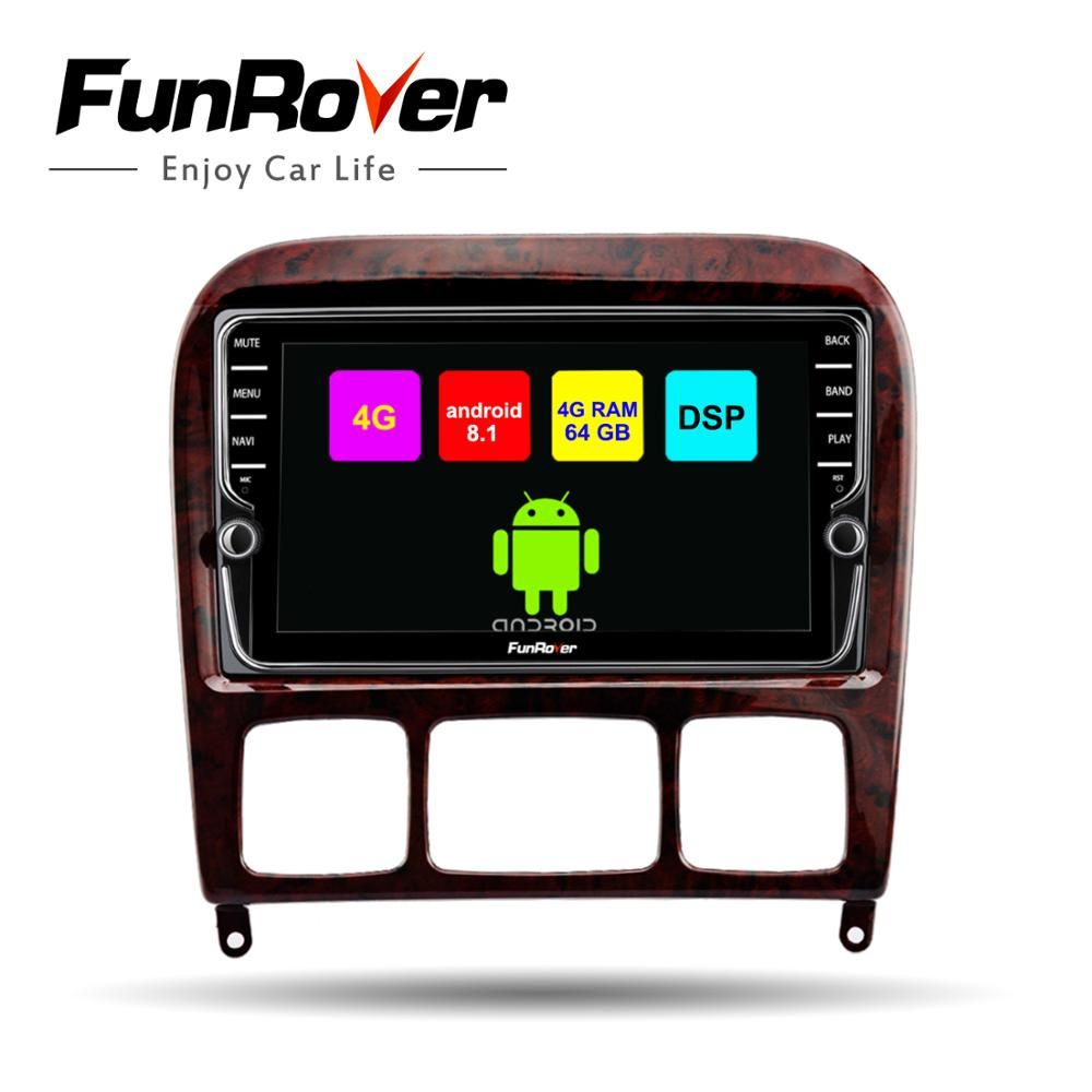 Funrover android 8.1 2 din auto radio gps-player Für Mercedes Benz S Klasse S280 S320 S350 S400 S500 W220 W215 auto dvd navi 4G + 64G