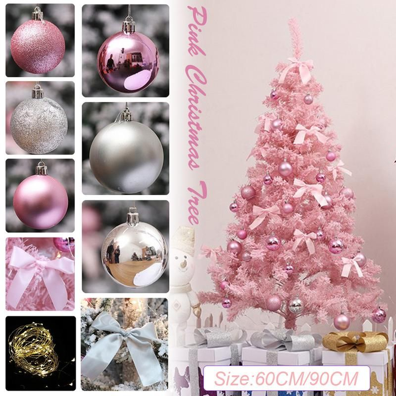 Pink Christmas Tree With LED Light DIY Artificial Christmas Tree Xmas Party Holiday Ornament Home Decor Office Decorations