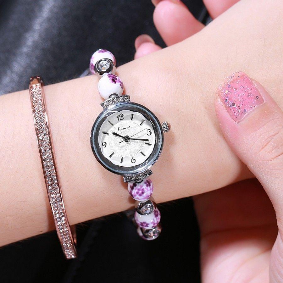 KIMIO rétro vraiment chinois montre en céramique bleu et blanc porcelaine chine de bon augure modèle Bracelets femmes montres marque de luxe