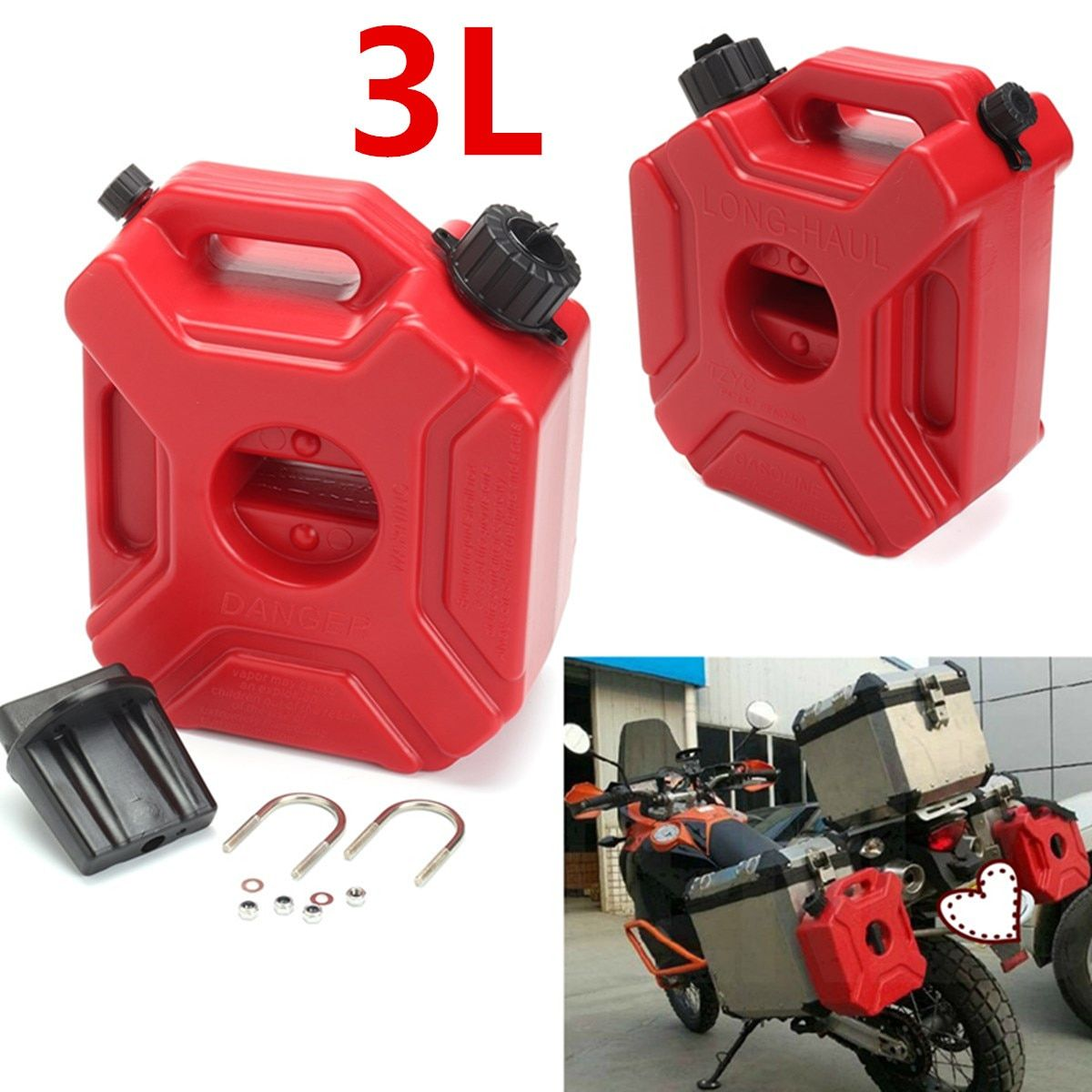 Portable Jerry Can Gas Fuel Tank Plastic Petrol Car Gokart Spare Container Gasoline Petrol Tanks Canister ATV UTV Motorcycle 3L