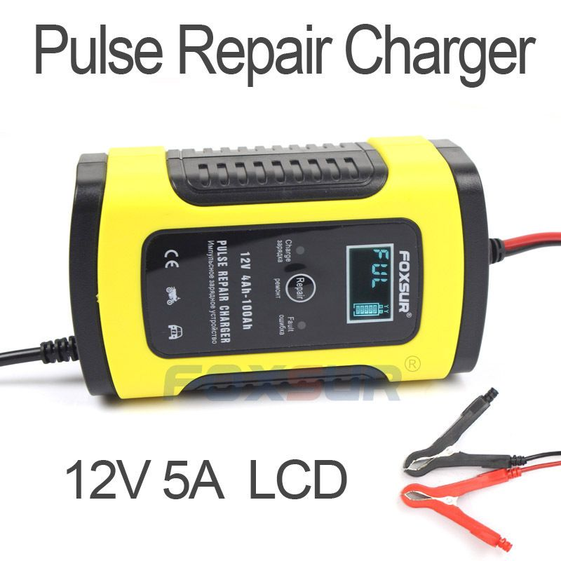 FOXSUR 5A Pulse Repair Charger with LCD Display Motorcycle & Car Battery Charger 12V AGM GEL WET Lead Acid Battery Charger