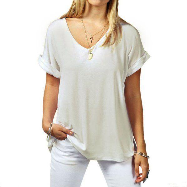Été Blusas grande taille t-shirt haut pour femme 2019 mode couleur unie t-shirt décontracté col en V à manches courtes T-shirt grande taille 5XL