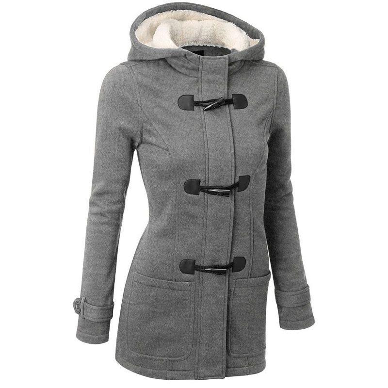 Femmes Trench Coat 2016 printemps automne femmes pardessus femme Long manteau à capuche à fermeture éclair corne bouton Outwear