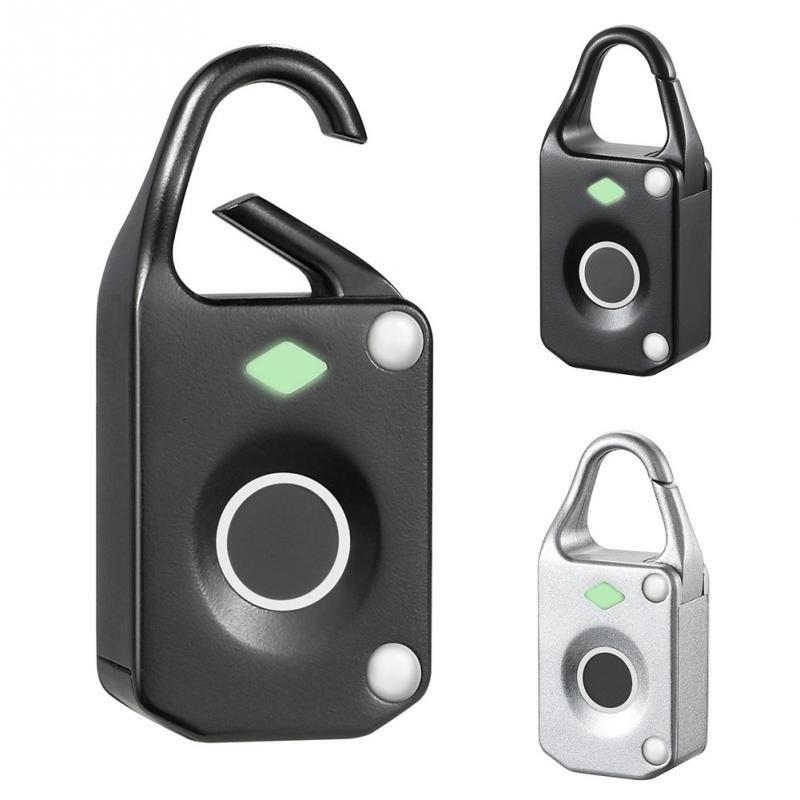 Smart Fingerprint Lock Anti Theft Mini Waterproof Electronic Keyless Luggage Padlock Black White Zinc alloy Fingerprint Lock