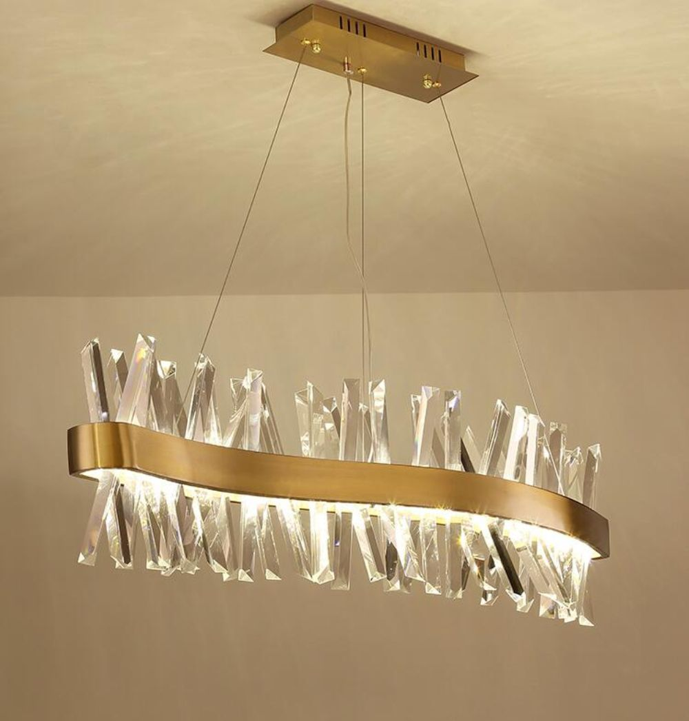 Nordic kristall kronleuchter rechteckigen restaurant licht S-förmigen luxus bar dekoration lampe L150cm