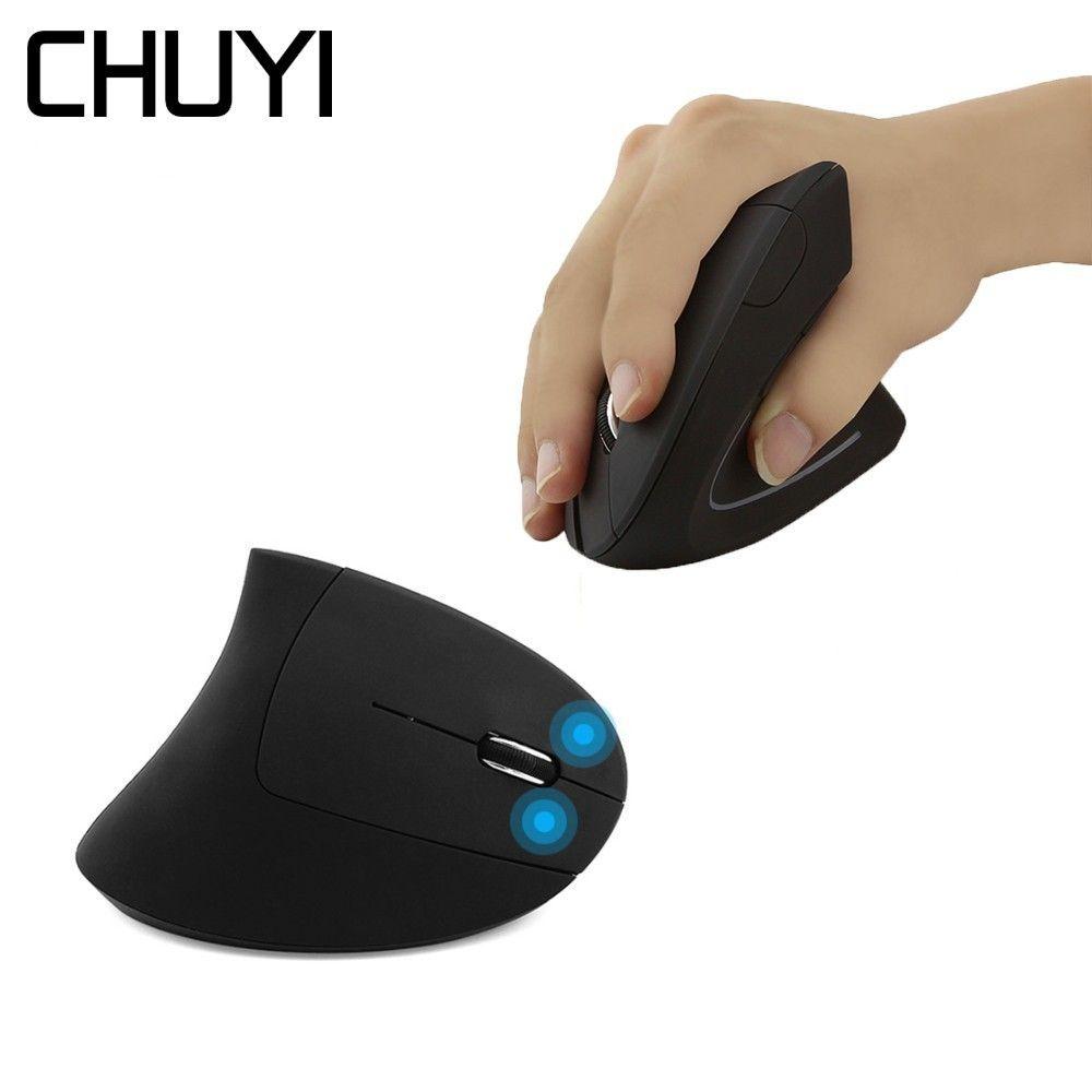 CHUYI Ergonomique Souris Verticale Sans Fil USB Optique Ordinateur Mause 1600 DPI 5D Coloré Lumière Saine Souris Avec La Souris Pad Kit
