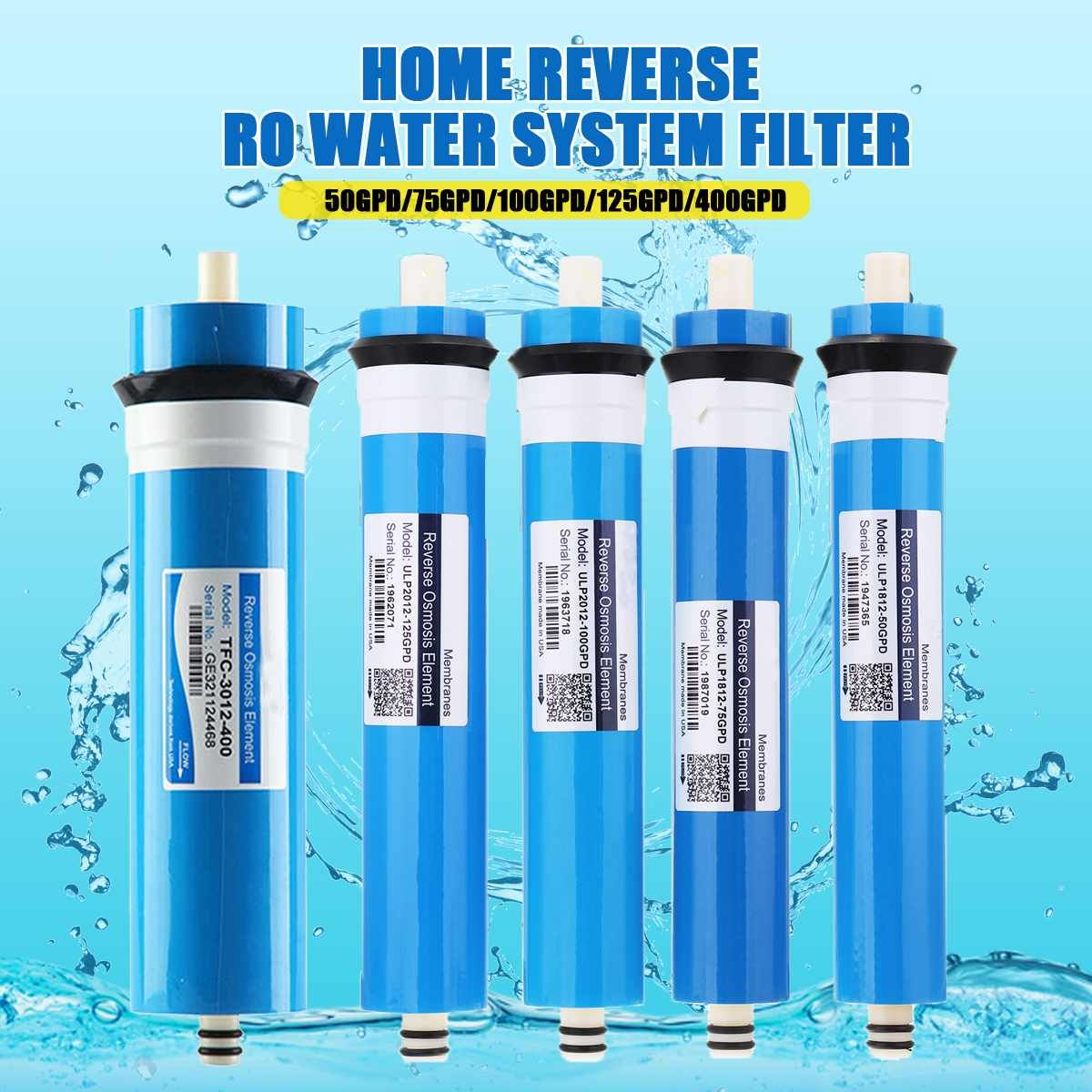 50/75/100/125/400GPD Home Kitchen Reverse Osmosis RO Membrane Replacement Water System Filter Water Purifier Drinking Treatment