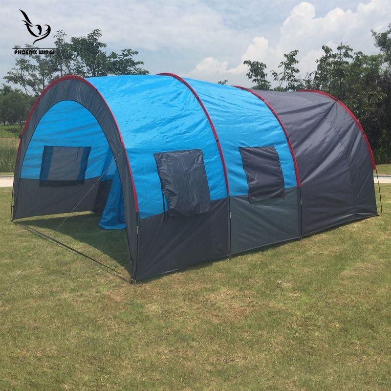 Große Camping zelt Wasserdicht Leinwand Fiberglas 5 8 Menschen Familie Tunnel 10 Person Zelte ausrüstung outdoor bergsteigen Party