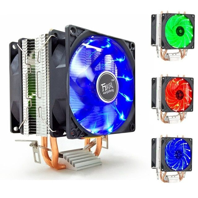 LED 2 Heat Pipe Quiet 3Pin CPU Cooler Heatsink Dual Fan For LGA 1155 775 1156 AMD 12V Dual CPU Cooler Quiet Powerful Fan For AMD