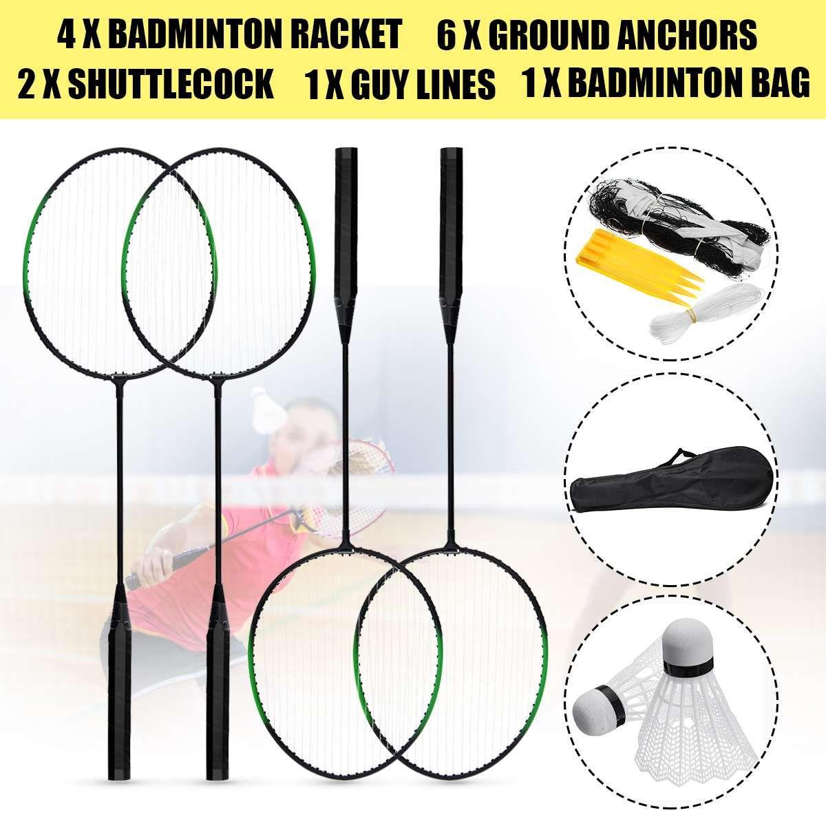 4 teile/satz Ausbildung Badminton Schläger Schläger mit Tragen Tasche Badminton Set Sport Ausrüstung 2 Federball + 6 Boden Anker