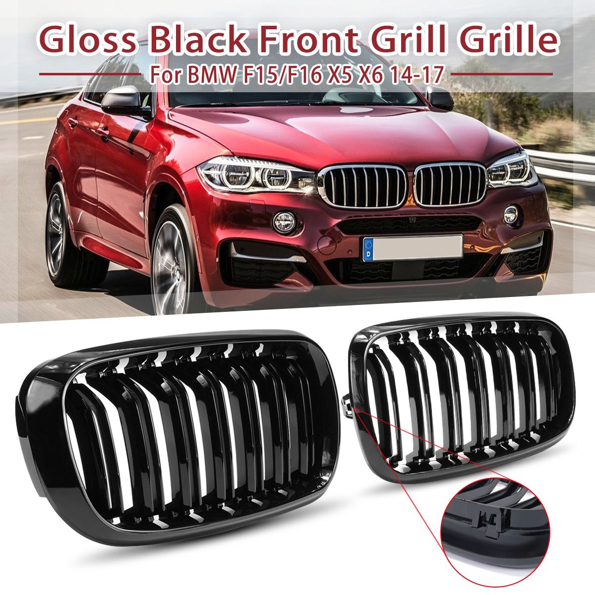 1Pair Gloss Matte Black Double Slat 2 Line M Color Car Front Kidney Grill For BMW F15 F16 X5 X6 2014 2015 2016 2017 Racing Grill