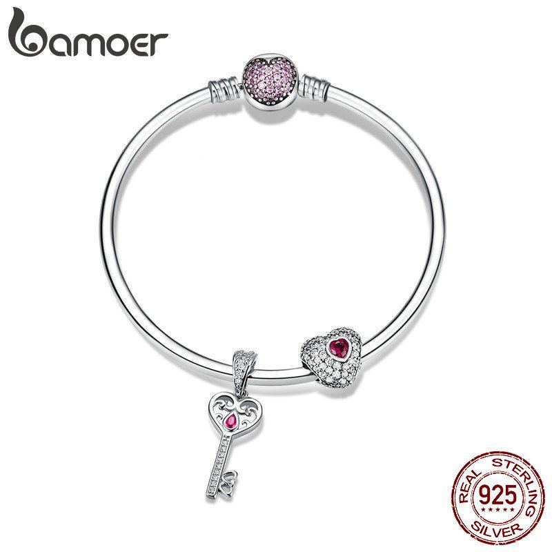 BAMOER Authentische 925 Sterling Silber Süße Herz Liebe Schlüssel Form Charme Armbänder für Frauen CZ Sterling Silber Schmuck SCB817