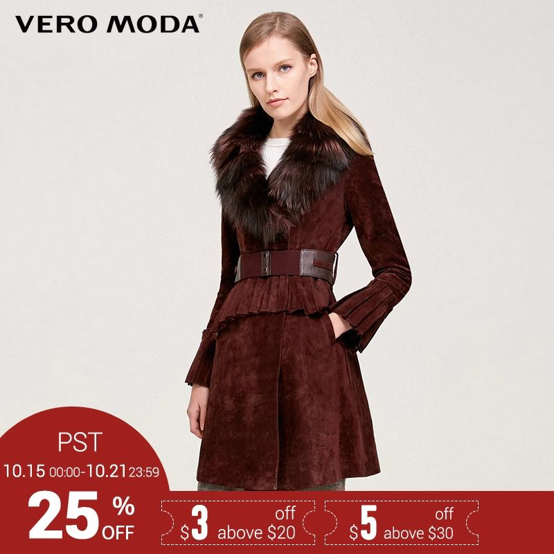 Vero Moda Brand 2018 NEW pigskin fox fur decoration slim long sleeve mid-length outerwear women leather coats 317428522