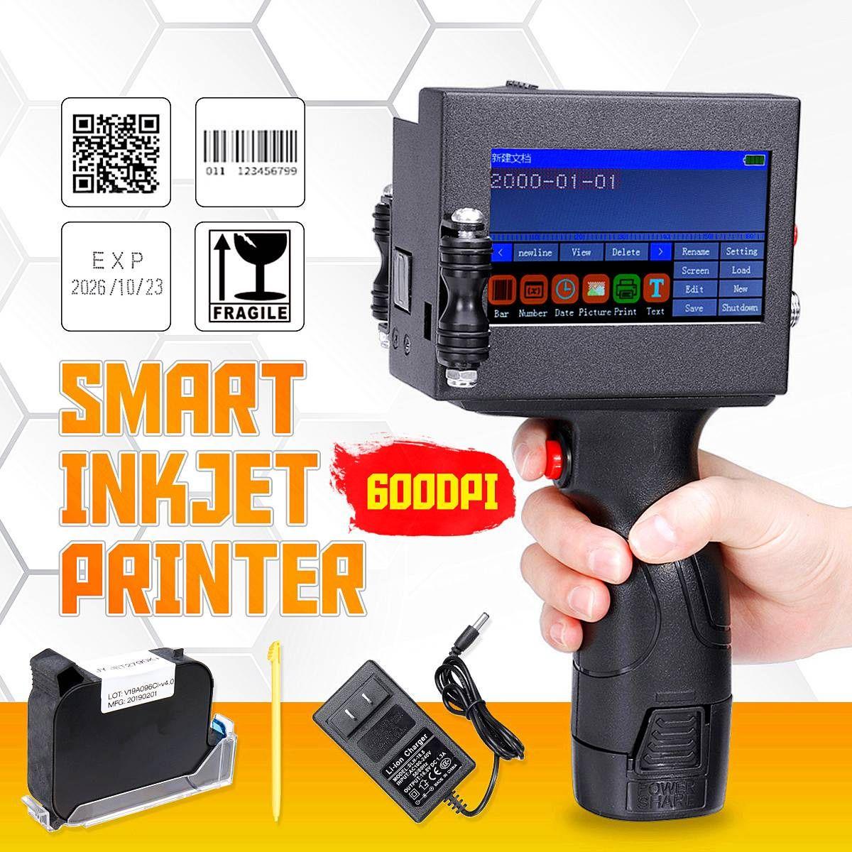 Neueste Led-bildschirm Touch-Screen Handheld Drucker 600DPI Intelligente USB QR Code Inkjet Label Drucker Hohe Qualität Codierung maschine