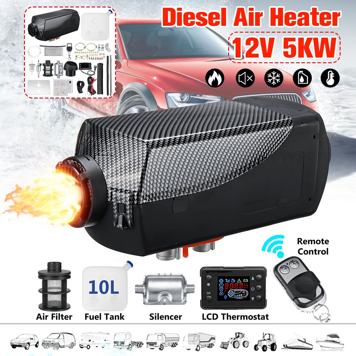 Car Heater 12V 5000W Carbon Pattern Air Diesels Fuel Heater Single Hole With Remote Silencer 10L Tank 5Kw For Trucks Boats Etc