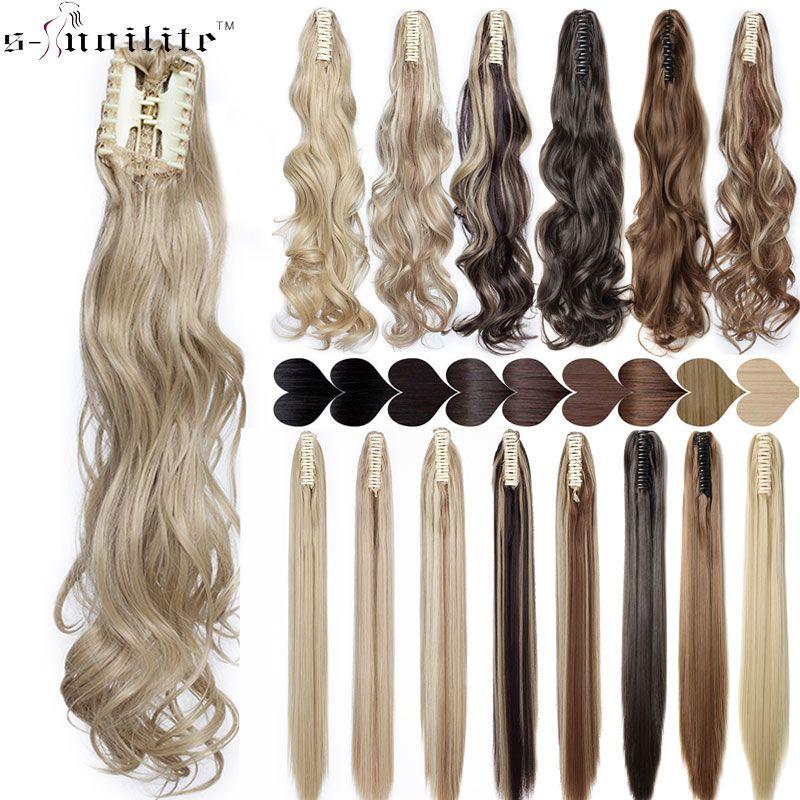 SNOILITE griffe synthétique sur queue de cheval extension de cheveux fausse queue de cheval postiche pour femmes noir brun queue cheveux extension