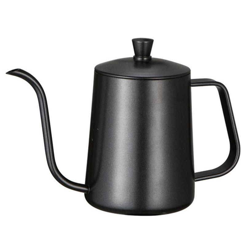 Support de montage en acier inoxydable poinçon à la main Pots à café avec couvercle goutte à goutte col de cygne bec Long bouche bouilloire théière-600 ml