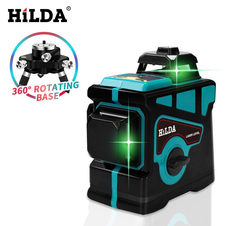 Niveau Laser HILDA 12 lignes niveau 3D auto-nivelant 360 croix horizontale et verticale niveau Laser vert Super puissant