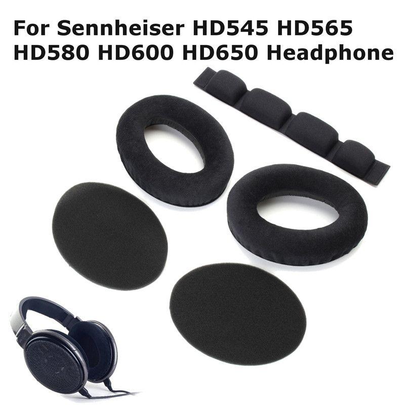 Oreillettes souples coussinets en mousse coussin avec bandeau ensemble pour Sennheiser remplacement casque intérieur tonalité Tuning mousse oreille tasse HD545