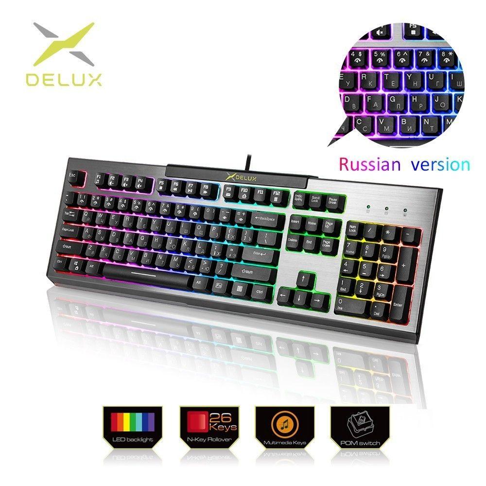 Delux KM9036 Version russe claviers de jeu 104 touches 7 couleurs rétro-éclairage clavier Standard sensation mécanique pour ordinateur portable PC Gamer