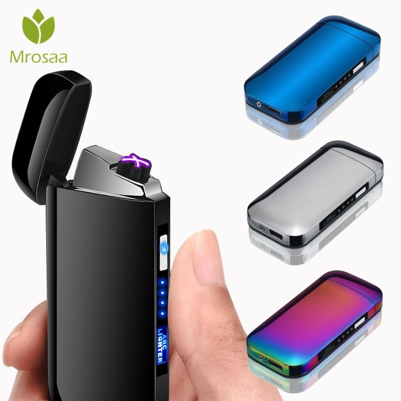 LED Switch Double Arc Plasma Lighter USB Rechargeable Windproof Flameless Electric Lighters Metal Smoking Cigarette Lighters