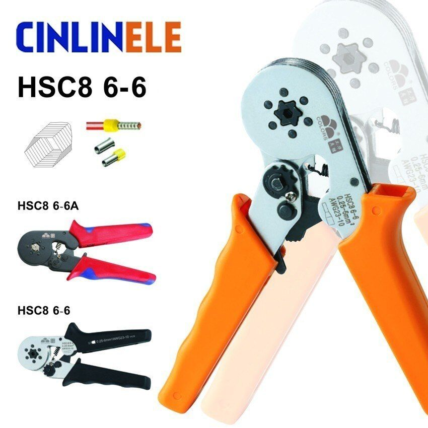 6-6 0.25-6mm 23-10AWG Hexagon & 10S 0.25-10mm 23-7AWG Quadrilateral <font><b>Tube</b></font> Bootlace Terminal Crimping Pliers Crimp Hand Tools HSC8