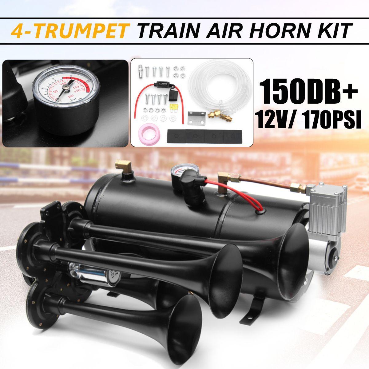 150db Lkw Zug Quad 4 Trompete Air Horn Kit Schwarz 170 PSI DC12V 3 Liter Luft Kompressor & Haus