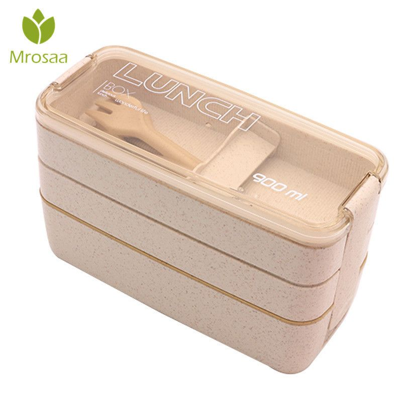 3 Layer Wheat Straw Bento Boxes 900ml Healthy Material Lunch Box Microwave Dinnerware Food Storage Container Lunchbox