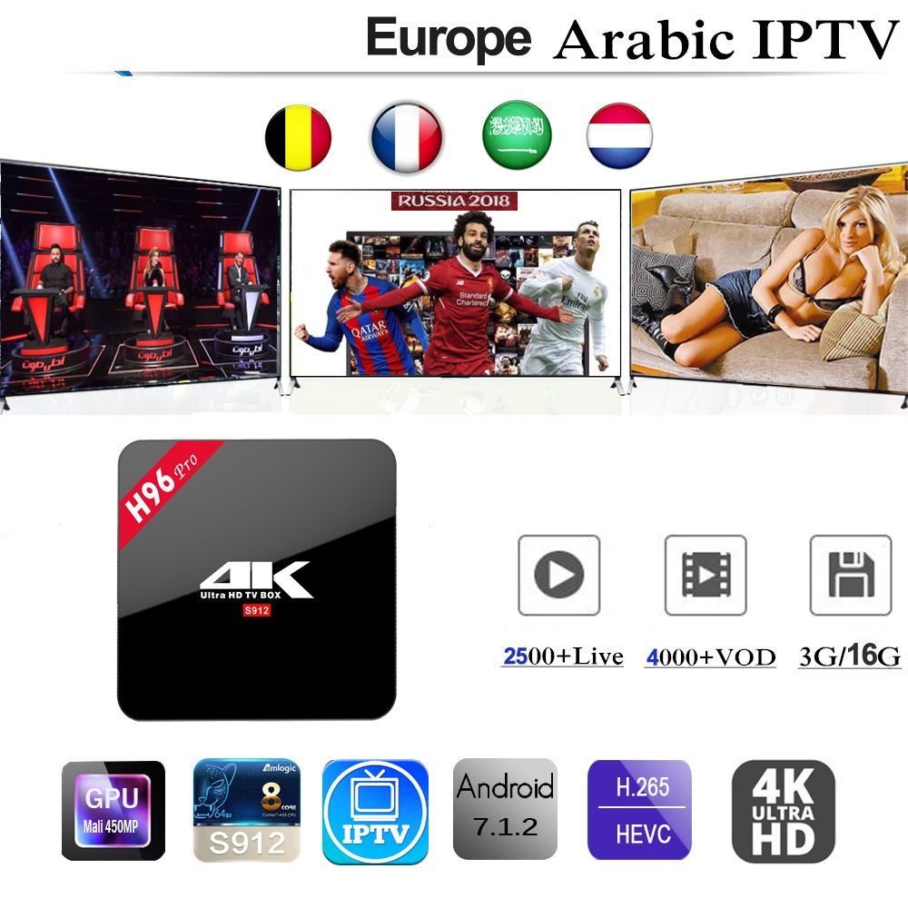 H96 Pro Android 7.1 Smart TV Box With IPTV subscription 3/6/12 Months Italy Belgium Germany UK Spain Arabic Adult 2500+ Channels