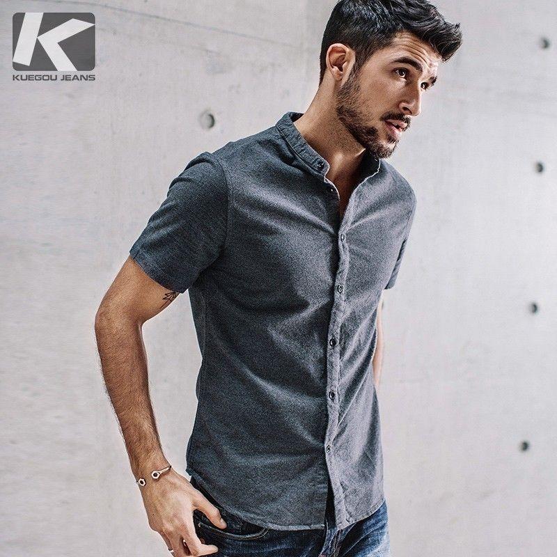 KUEGOU 2019 été 100% coton plaine chemise hommes robe décontracté Slim Fit manches courtes pour homme marque Blouse grande taille vêtements 5859